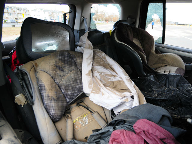 <p>Inside a car on Staten Island that was wrecked during Hurricane Sandy.</p>