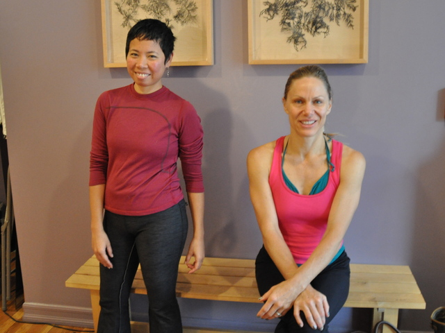 <p>Yoga instructors Narissa Vani Chanan and Lulu Hagen, whose classes in Manhattan were canceled for the storm, rejoiced in the chance to take class at their neighborhood studio Abhyasa&nbsp;Yoga Monday.</p>