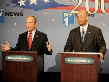 New York City Mayor Michael Bloomberg leads his rival William Thompson by 16 points, according to the new Marist poll. Bloomberg and Thompson were photographed at the first debate in the  2009 mayoral campaign on Tuesday, Oct. 13, 2009.