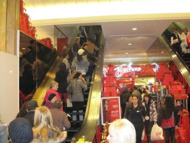 Macy's was mobbed with bargain shoppers on Black Friday in 2009.