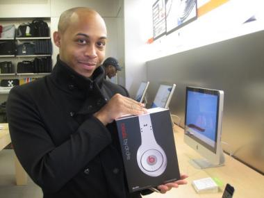 James Knox, of the Upper West Side, had been to three different stores by 6:39 a.m. He came to Apple Store specifically for the Beats Headphones by Dr. Dre.