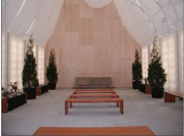 The Memorial Park Chapel at East 30th Street and the FDR, where an arsonist allegedly set fire to the benches Saturday. The chapel, next to the Medical Examiner's office, stores the remains of unidentified World Trade Center victims until they can be moved to permanent home.