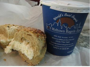 An H&H bagel and coffee.