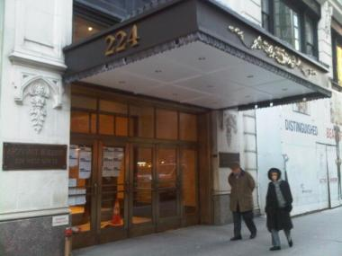 Lobby to the historically landmarked Argonaut building at 224 West 57th St. A dead body was found on the roof Dec. 17, 2009.