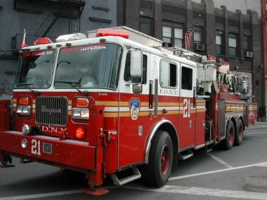 A fire truck from Engine 21 in Hell's Kitchen.