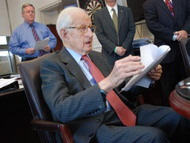 Manhattan District Attorney Robert Morgenthau, 90, making one of his last announcements after a 35-year tenure as the county's lead prosecutor.