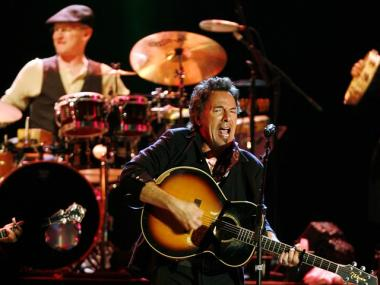 Bruce Springsteen performs on stage at the Assago Forum, near Milan, Italy, Friday May 12, 2006.