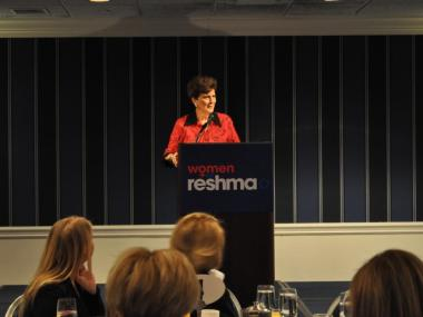 Marie Wilson, former president of the Ms. Foundation, speaks at the Women for Reshma fundraiser Monday.