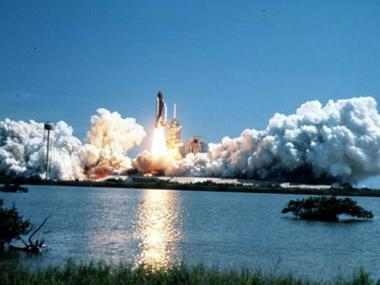 A space shuttle takes off at the Kennedy Space Center in Merritt Island, Florida.