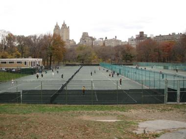The Central Park tennis courts near W. 95th Street.