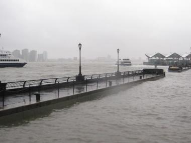 Water levels rose to just below the walkways in the Battery Park City Marina during a rainstorm in March 2010.