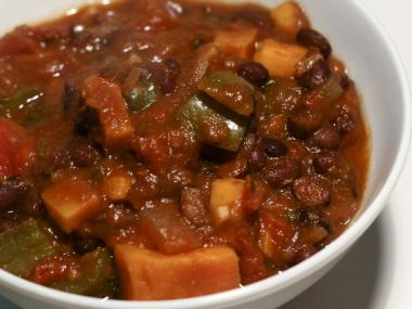 Vegetarian black bean chili was on the menu this Monday at the East Village Community School's cafeteria.