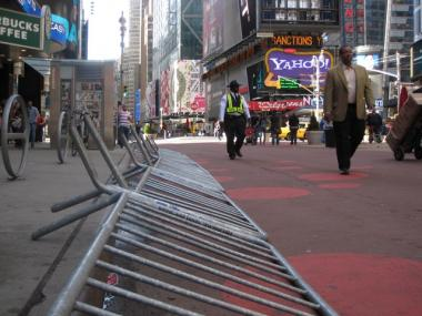 Police barricades still lined Times Square Monday morning. April 5, 2010