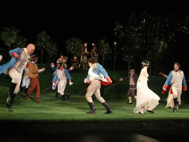 Actors perform during the 2009 Shakespeare in the Park opening night performance of 'Twelfth Night at the Delacorte Theater on June 25, 2009.