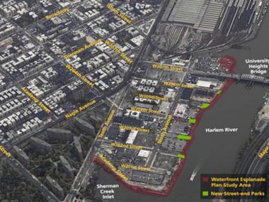 The New York City Economic Development Corporation's aerial view of where it plans to create a Sherman Creek esplanade.