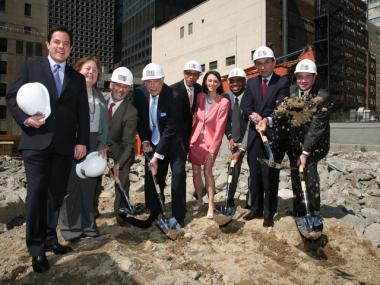 Councilmember Dan Garodnick, State Senator Liz Krueger, Executive Vice President of the World-Wide Group David Lowenfeld, President of the World-Wide Group Victor Elmaleh, Deputy Mayor Dennis Walcott, Councilmember Jessica Lappin, New York City Educational Fund President Jamie Smarr, Schools Chancellor Joel Klein and Assemblyman Jonathan Bing celebrated the groundbreaking of the P.S. 59 facility.