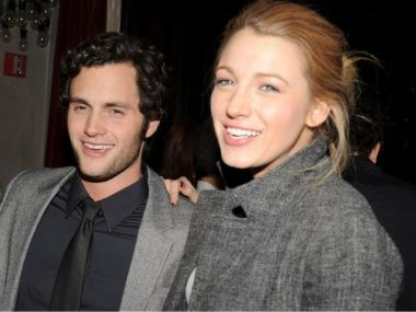 Penn Badgley, left, with his girlfriend and Gossip Girl co-star Blake Lively.