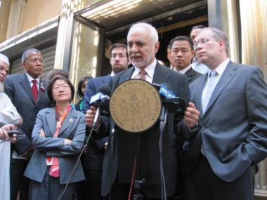 Imam Feisal Abdul Rauf said the Cordoba House would help rebuild lower Manhattan and send a message of peace. Standing with him, from left, Councilman Robert Jackson, Councilwoman Margaret Chin, State Sen. Daniel Squadron, City Comptroller John Liu and Borough President Scott Stringer.
