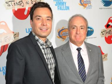 Talk-show host Jimmy Fallon posed with his former boss, SNL creator Lorne Michaels, at the Stones' re-release party on Tuesday.