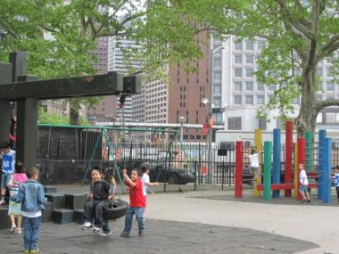 The current playground is spare and outdated, but children still seemed to enjoy it Thursday morning.