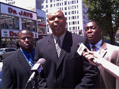 Noel Leader (center) of the group 100 Blacks in Law Enforcement Who Care blasted Attorney General Andrew Cuomo for not doing enough to stop racial profiling on Tuesday, May 24, 2010.
