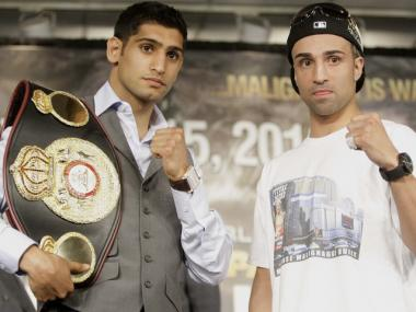 Amir Khan and Paulie Malignaggi at a press conference hyping their Saturday night fight.