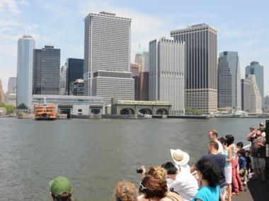 A ferry offers great views of Lower Manhattan.