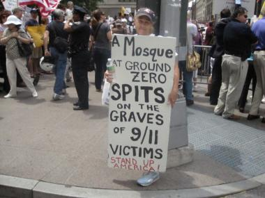 A protester at an anti-mosque rally near Ground Zero in June.
