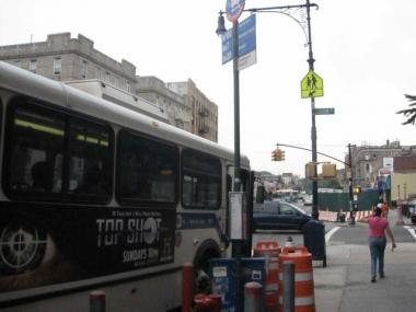 The Isham Street BX20 bus stop in Inwood.