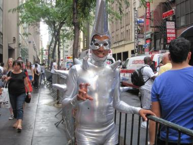 Vincent Hernadez, 26, of the Lower East Side, designed his own costume for the Lady Gaga