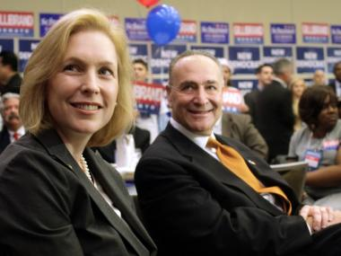A slimmer Sen. Kirsten Gillibrand, left, joined by Sen. Chuck Schumer at the New York State Democratic Committee State Convention earlier this summer.