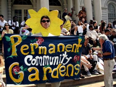 Community gardeners rallied at City Hall to advocate for legislation protecting their gardens.