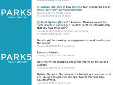 An offensive post on Park51's Twitter page prompted organizers to fire their social networking team.