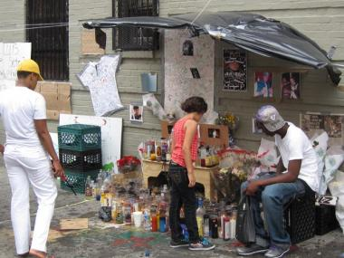 A sidewalk memorial to Soto on the block of Avenue St. John in the Bronx where he lived.