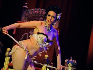 Burlesque dancer Trixee Sparkle performs at the Wintergarten Theater in Berlin, Germany.