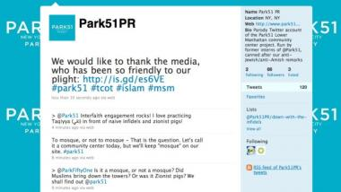 A mock Twitter feed posts controversial remarks about the planned Islamic cultural center near Ground Zero.