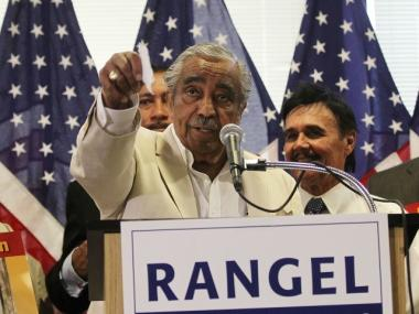 U.S. Rep. Charles Rangel speaks to the media in Harlem about his re-election campaign with campaign supporters August 12. Rangel is battling 13 ethics violations by the House Ethics Committee.