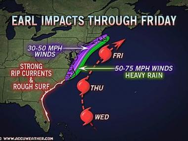 Hurricane Earl is forecasted to pass east of Long Island on Friday.