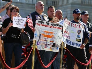 9/11 first responders rally in support of the Zadroga Act on Capitol Hill on September 15.