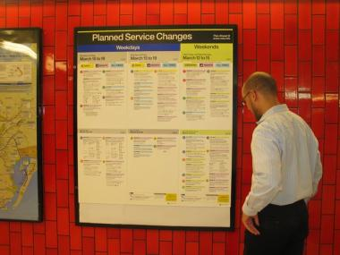 The redesigned subway service change posters will hit train stations on Thursday, September 16th, according to the MTA.