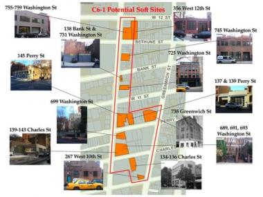A diagram put out by local preservationists showed properties in the West Village threatened by future development.