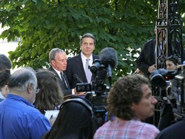 Mayor Bloomberg formally endorsed Democratic candidate for governor, Andrew Cuomo, at City Hall Park on Wednesday, September 22, 2010.