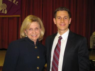 Congresswoman Carolyn Maloney and her Republican challenger, 28-year-old Ryan Brumberg.