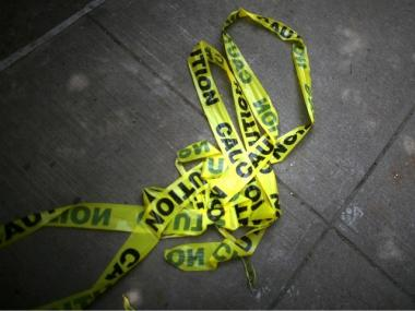 Police tape on a Manhattan street.