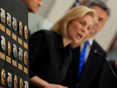 U.S. Sen. Kirsten Gillibrand, sponsor of the 9/11 health bill, spoke at a ceremony in Washington, D.C. last month to install an exhibit of 29 shields of NYPD officers who died following their exposure to toxins on 9/11.