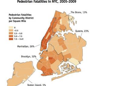 Pedestrian fatalities in New York City between 2005 and 2009, according to the NYC DOT Traffic Fatality database.