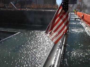 One of the 9/11 memorial waterfalls was tested last year. The memorial is scheduled to open this fall and is expected to draw millions of tourists a year.
