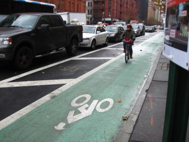 A Columbus Avenue bike lane. U.S. Census data recently found that fewer than one percent of New Yorkers ride their bikes to work.