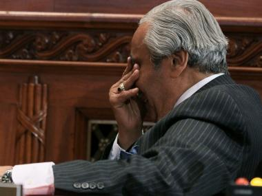 U.S. Rep. Charlie Rangel (D-NY) reacts during a House Committee on Standards of Official Conduct hearing November 18, 2010 in Washington, DC.