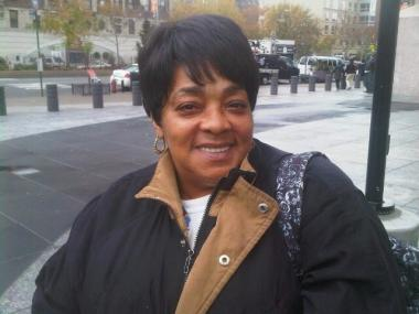 Catherine Williams discussed the verdict against Rangel outside his 125th Street offices.